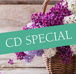 "Image of lilacs in a basket with the banner ""CD Special"" across the middle"