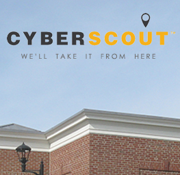 CyberScout logo over blue sky with roof of bank building showing