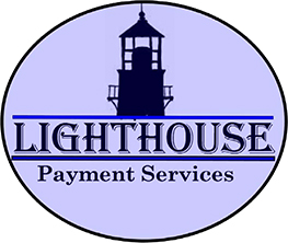Lighthouse Payment Services logo, featuring company name and graphic image of lighthouse in light purple oval.