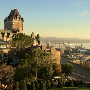 The Chateau Frontenac overlooking the Saint Lawrence River in Quebec City.
