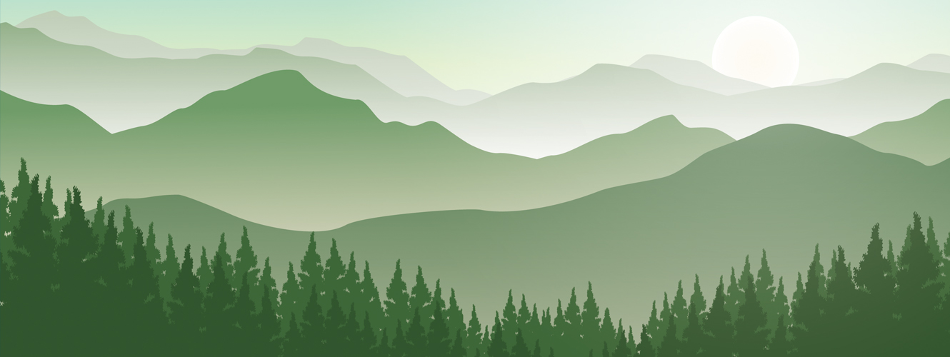 Green mountain range. Trees in the foreground, mountains and sun in the background.